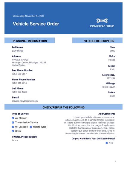 Vehicle Service Order Pdf Templates