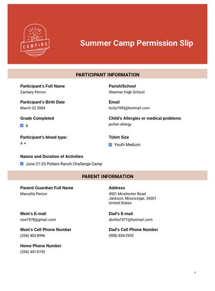 Summer Camp Permission Slip