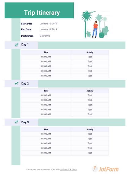 Itinerary Templates Pdf Templates Jotform