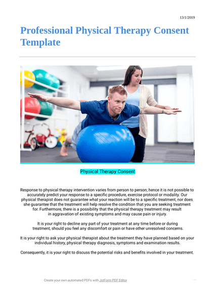 Professional Physical Therapy Consent Template Pdf Templates Jotform