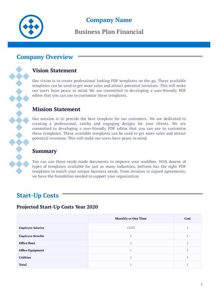 Business Plan Financial Template Pdf Templates Jotform