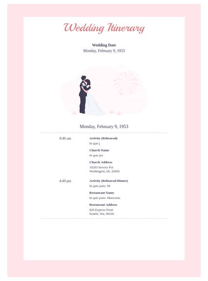 Wedding Itinerary Template Pdf Templates Jotform