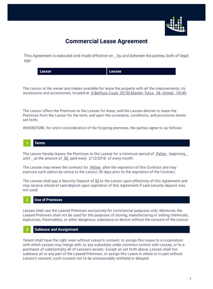 Free Commercial Lease Agreement