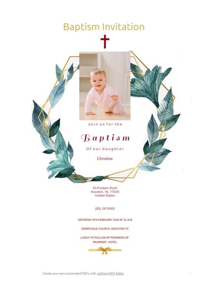 Baptism Invitation Template - PDF Templates | JotForm