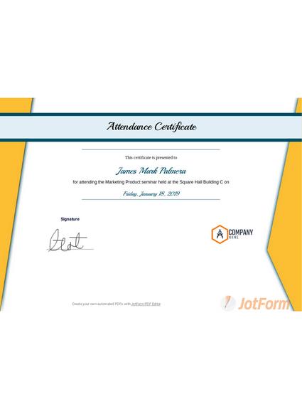 Attendance Certificate Template Pdf Templates Jotform