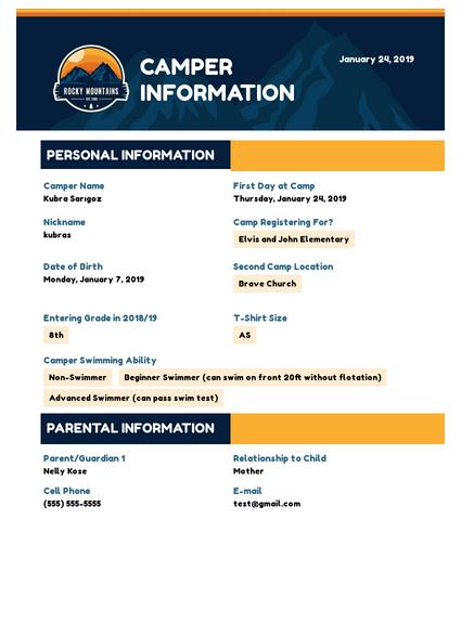 Camper Information
