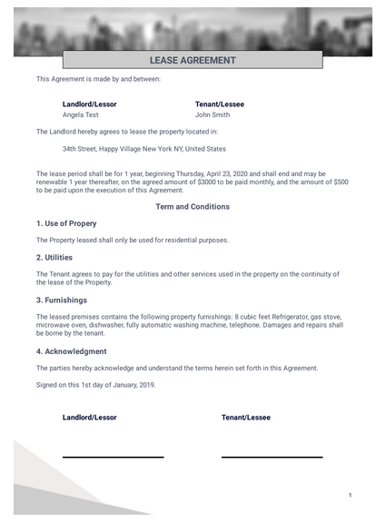 One Page Lease Agreement Template