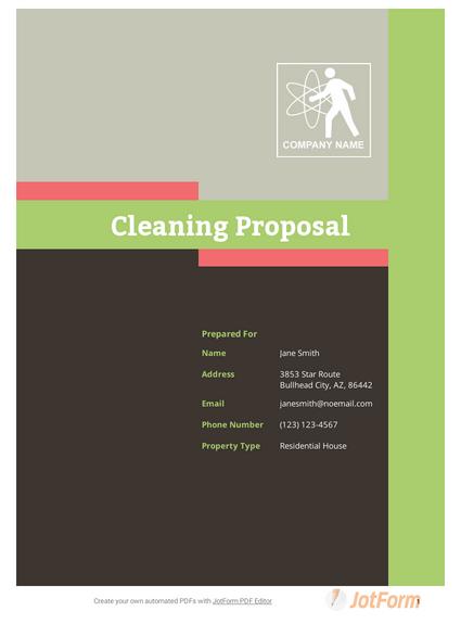 Cleaning Proposal Template Pdf Templates Jotform