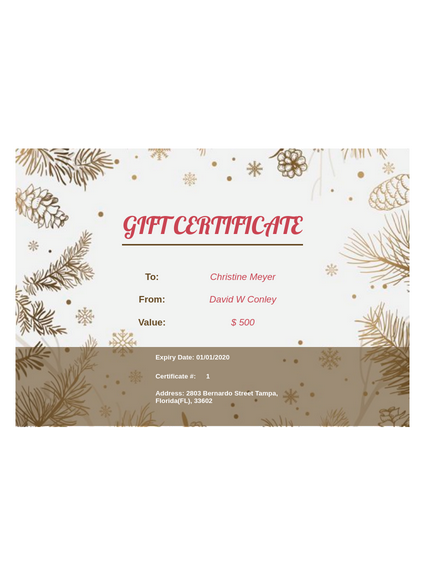 Business Gift Certificate