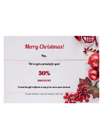 Christmas Gift Certificate Template Pdf Templates Jotform
