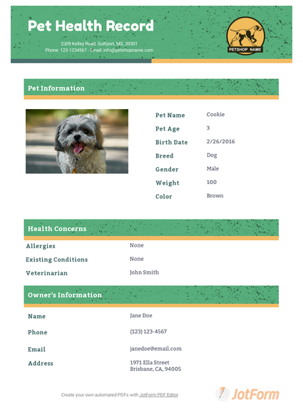 Pet Health Record Template Pdf Templates Jotform
