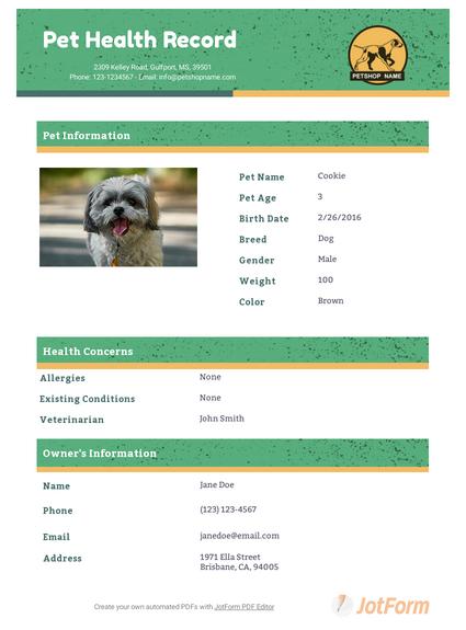 Pet Health Record