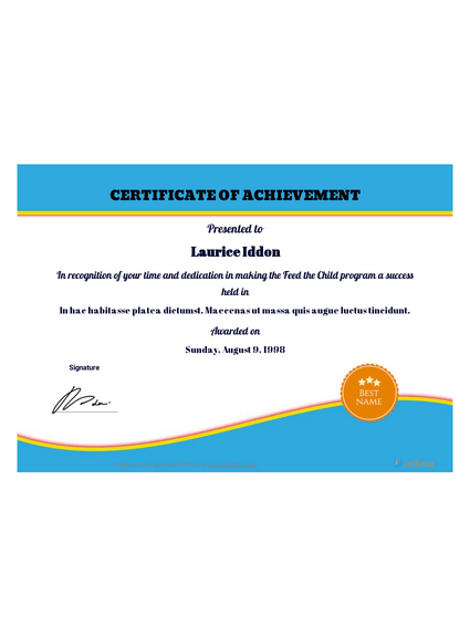 Free Certificate Of Achievement Template Pdf Templates Jotform
