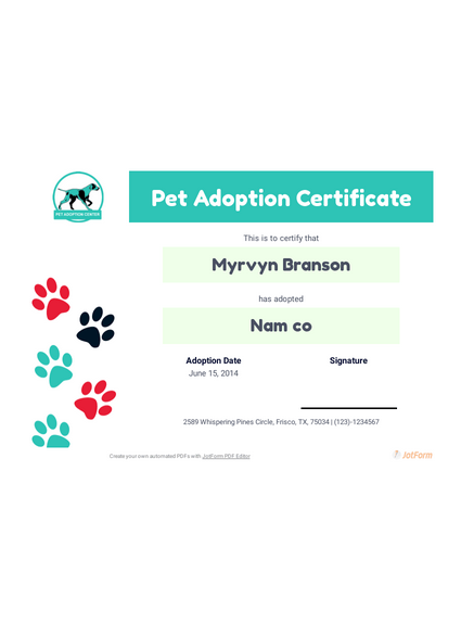 Free Pet Adoption Certificate