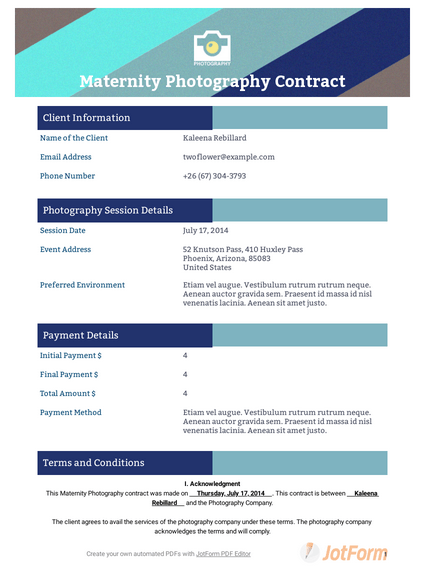 Maternity Photography Contract