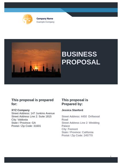 Free Business Proposal Template Pdf Templates Jotform