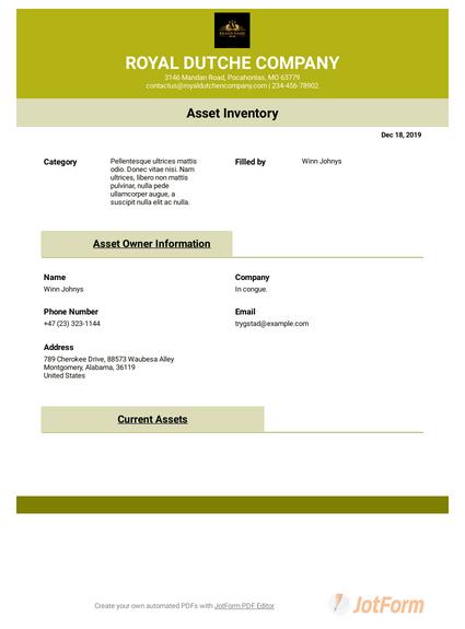 Asset List Template Pdf Templates Jotform