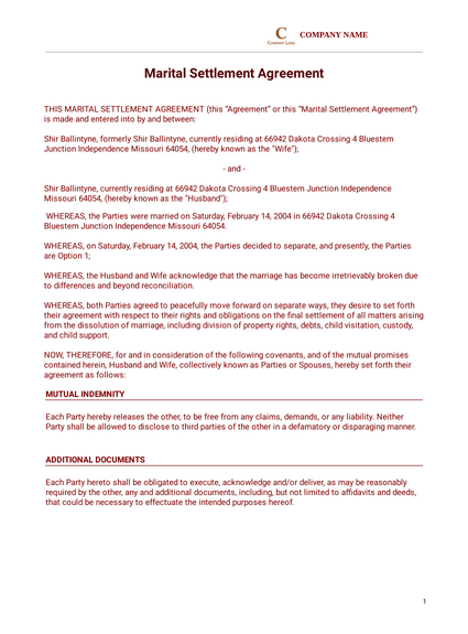 Divorce Settlement Agreement Template Pdf Templates Jotform