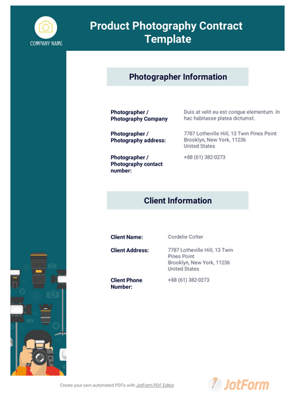 Product Photography Contract