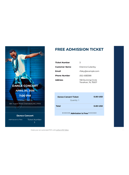 Free Admission Ticket