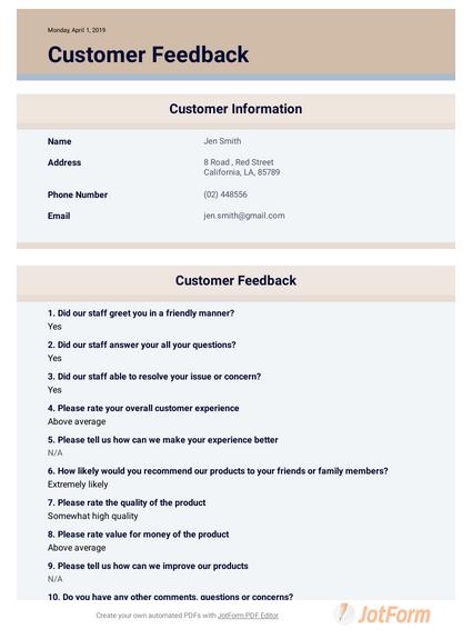 Customer Feedback Template