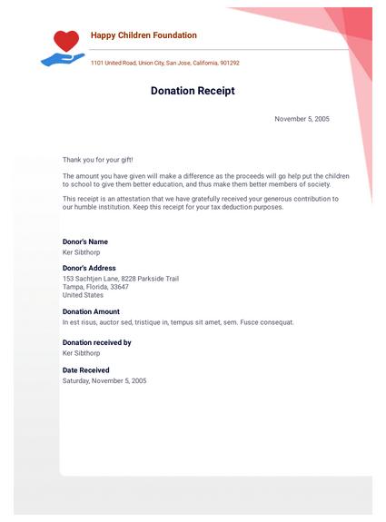 Donation Receipt Template Pdf Templates Jotform