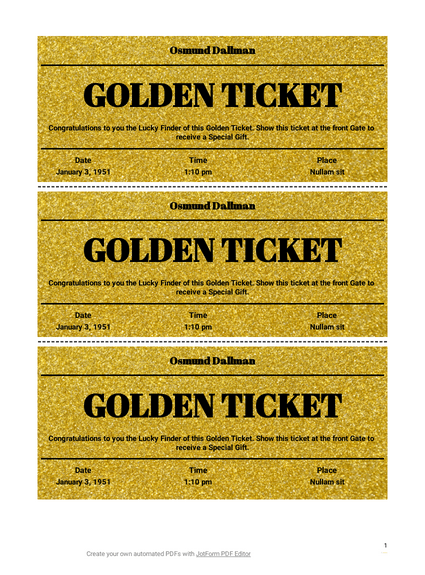 Golden Ticket Template Pdf Templates Jotform