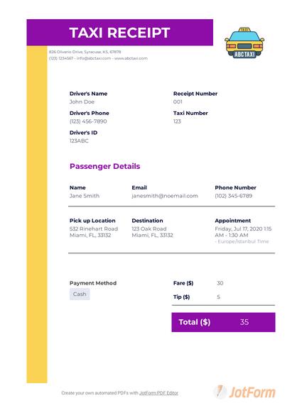 Taxi Receipt Template Pdf Templates Jotform