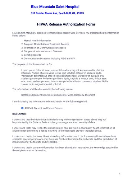 HIPAA Release Form