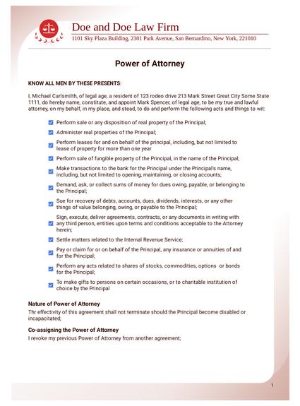 Power of Attorney