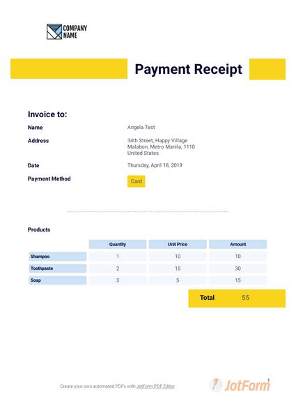 Payment Receipt Template Pdf Templates Jotform