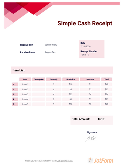 Simple Cash Receipt Template Pdf Templates Jotform