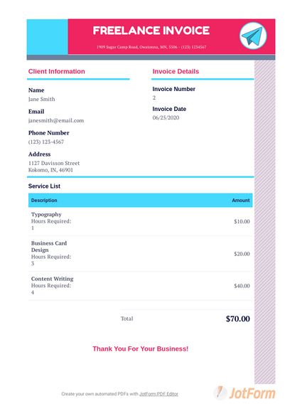 Download your free, customizable freelancer invoice template.