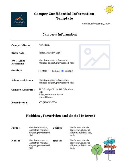 Camper Confidential Information