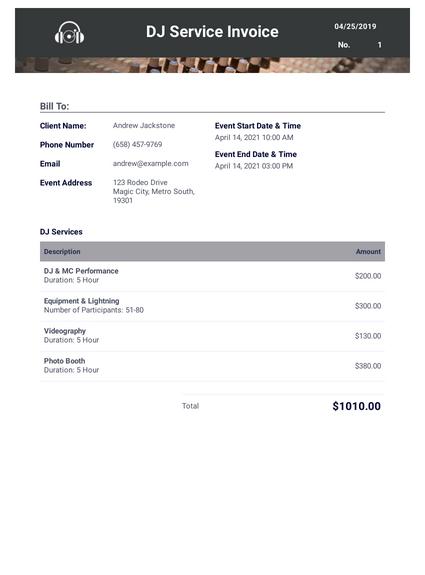 Dj Invoice Template Pdf Templates Jotform