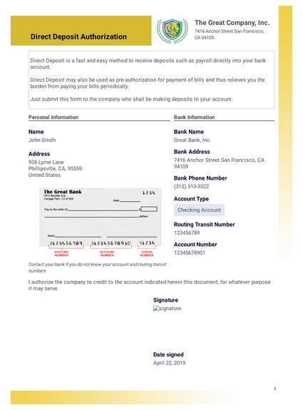 Direct Deposit Authorization Pdf Templates Jotform