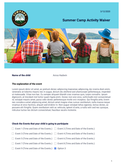 Summer Camp Activity Waiver