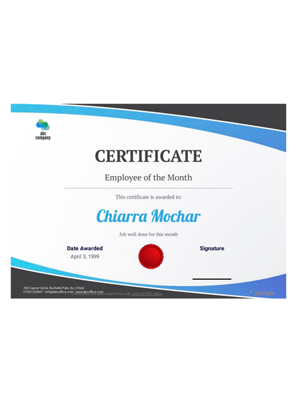 Employee Of The Month Certificate Template Pdf Templates Jotform