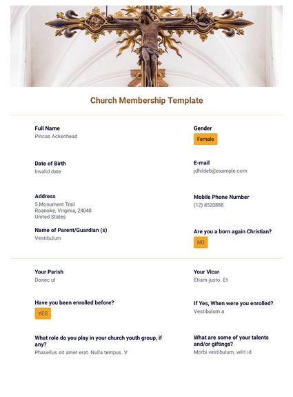 Church Membership Template