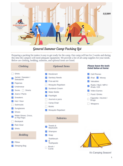General Summer Camp Packing List