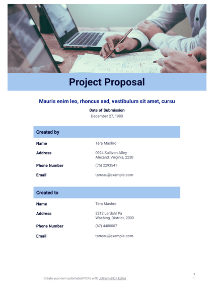 Free Project Proposal Template Pdf Templates Jotform