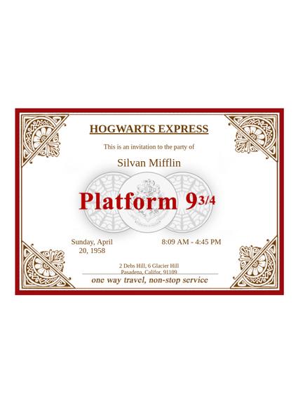 Hogwarts Express Ticket Template Pdf Templates Jotform