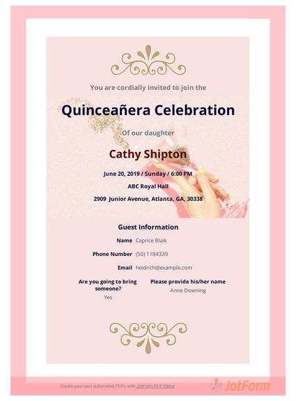 Quinceañera Invitation