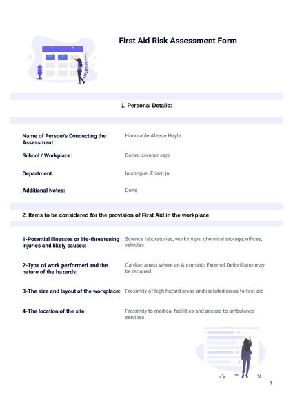 First Aid Risk Assessment Template Pdf Templates Jotform Overview of risk assessment risk assessments are required by law, and are required as part of leighton buzzard library theatre's. first aid risk assessment template