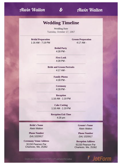 Wedding Photography Schedule