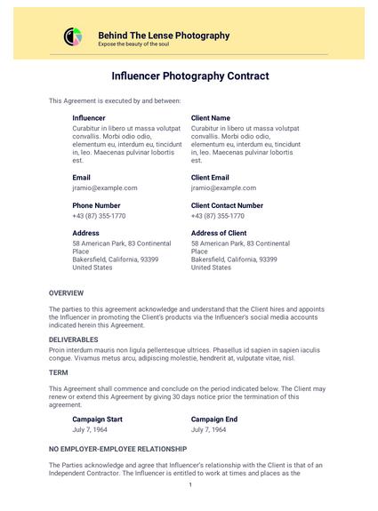 Influencer Photography Contract Template Pdf Templates Jotform