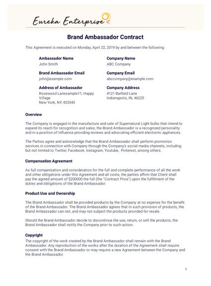 Brand Ambassador Contract Template Pdf Templates Jotform