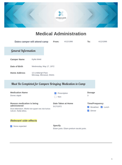 Camper Medication Administration