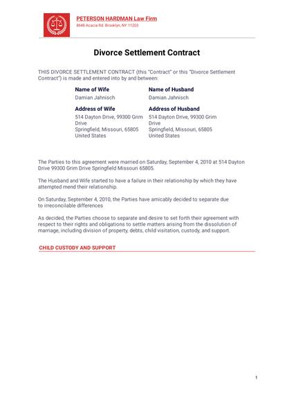 Divorce Settlement Contract