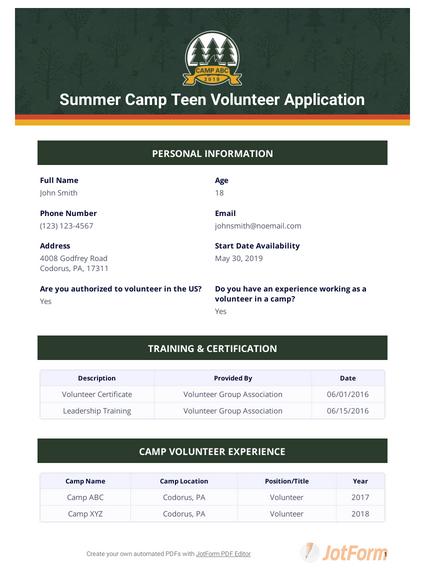 Summer Camp Teen Volunteer Application
